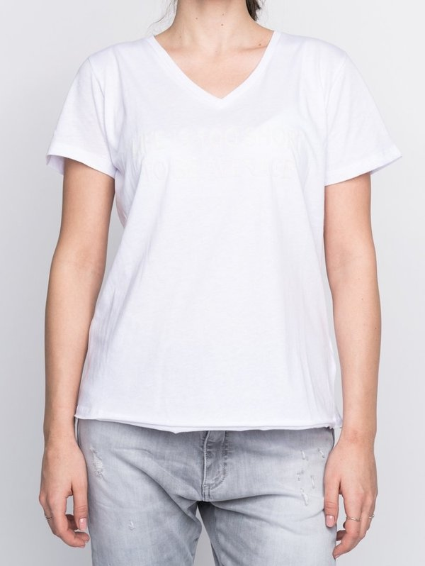 193-2071 Elias Rumelis Samantha Basic T-Shirt, V-neck weiß